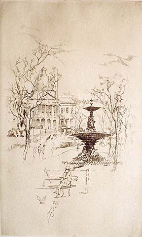 View of the State House, Boston - ALEXANDER A. BLUM - etching