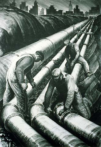 Four Pipe Line - JAMES ALLEN - lithograph