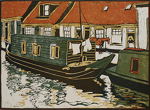 Houseboats in the Canal - CEES BOLDING - woodcut printed in colors