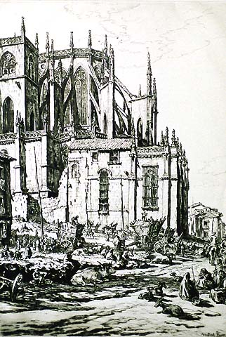 The Apse, Leon Cathedral, Spain (2nd plate) - MUIRHEAD BONE - drypoint