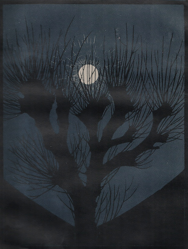 Moonlit Night (Maannacht) -  ANNA JULIE DE GRAAG - woodcut printed in colors