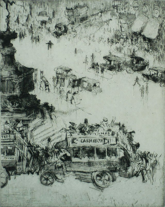 Piccadilly Circus, London - JULES DE BRUYCKER - etching