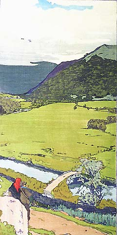 Brotherswater - FRANK MORLEY FLETCHER - color woodcut