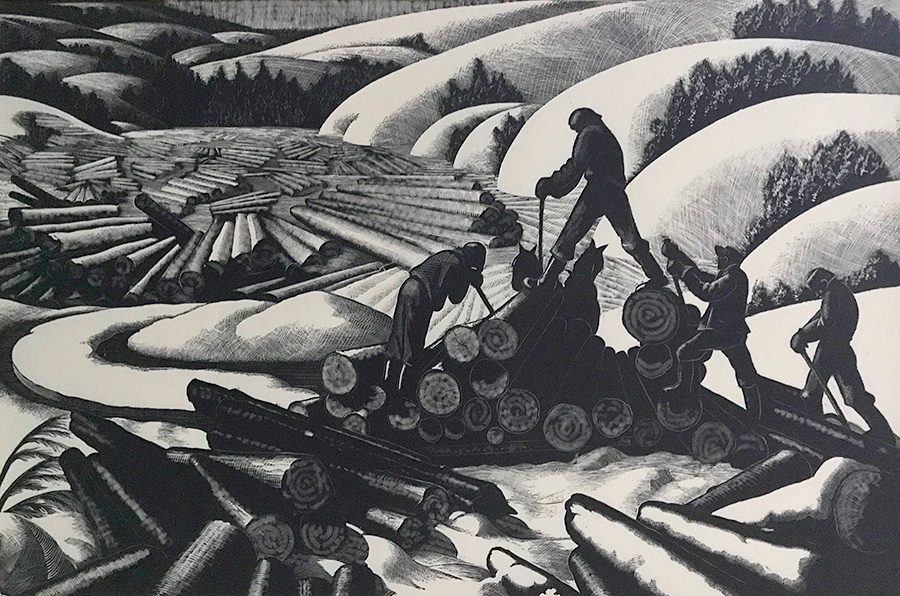 Landing - CLARE LEIGHTON - wood engraving