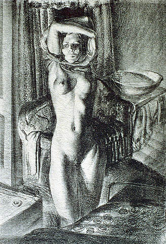 Girl Undressing - LESLIE COLE - lithograph