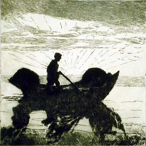 The Lobsterman, Dawn - PHILIP LITTLE - etching