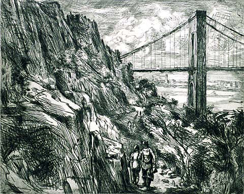 George Washington Bridge - REGINALD MARSH - etching and engraving
