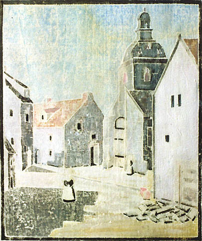 Le Faouet, Brittany (small version) - ORA INGE MAXIM - white-line color woodcut