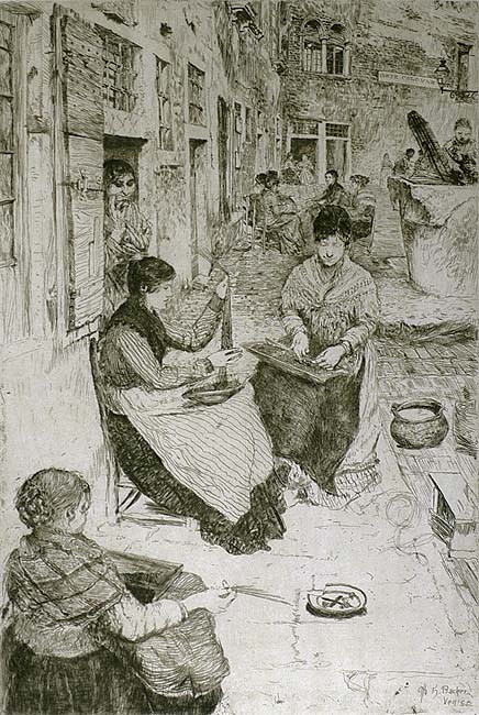 Bead Stringers, (Perleria), Venice - OTTO H. BACHER - etching