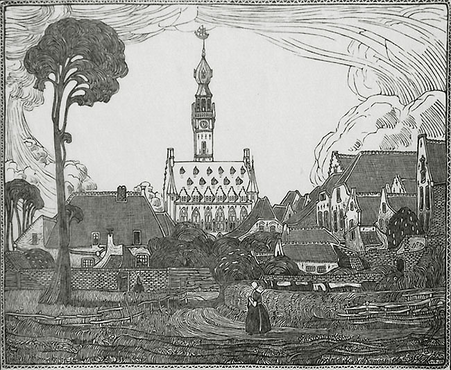 Town Hall in Veere, Holland (Stadhuis te Veere) - WOJ NIEUWENKAMP - wood engraving