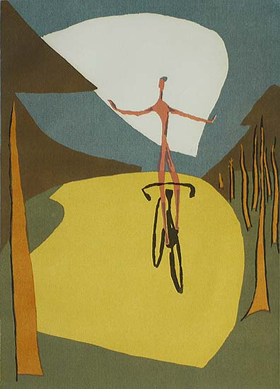 Boy on a Wheel - HULDA D. ROBBINS - screenprint