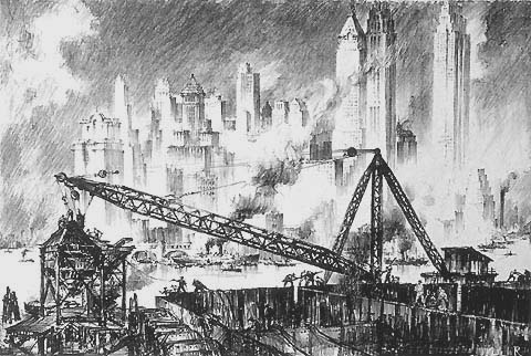 New York City Construction - LILI RETHI - lithograph