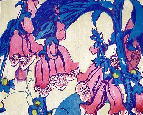 Foxgloves - MABEL ROYDS - woodcut printed in colors