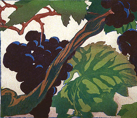 Grapes - MABEL ROYDS - color woodcut