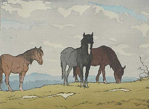 Horses on a Hillside - ALLEN W. SEABY - color woodcut