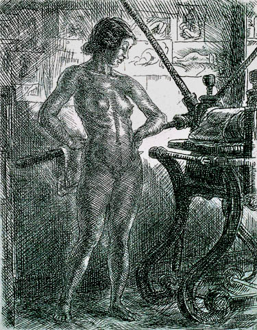 Nude and Etching Press - JOHN SLOAN - etching