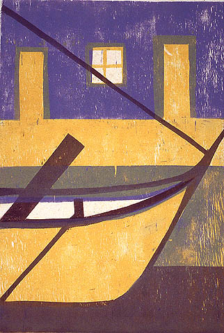 Ship Composition - HERMANN STAMMESHAUS - color woodcut