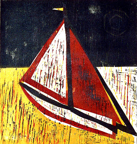 Sailboat - HERMANN STAMMESHAUS - woodcut