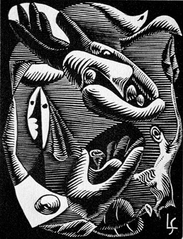 Surrealist Abstraction - LEOPOLD SURVAGE - wood engraving