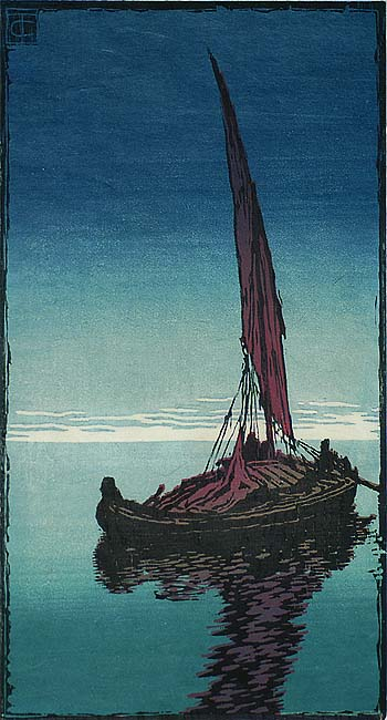Abend (Evening) - CARL THIEMANN - woodcut printed in colors