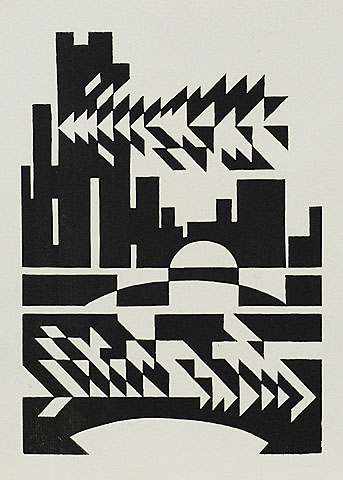 Improvization II - EDMOND VAN DOOREN - linocut