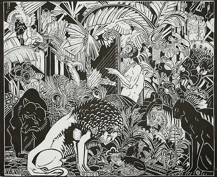 Orpheus Playing for the Animals - HENRI VAN DER STOK - woodcut