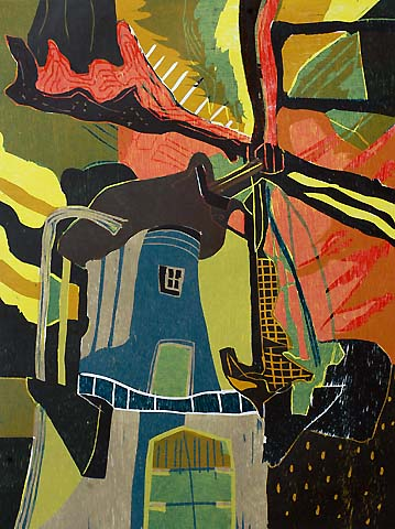 Windmill #3 -   - woodcut printed in colors
