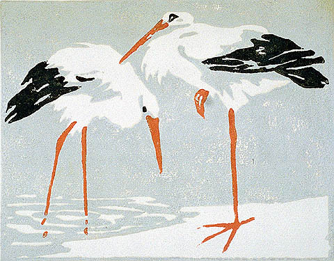 Egrets - GEORGE WINKELMANN - color woodcut