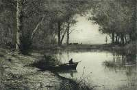 Pêcheur en Canot, Au Bord d'une Rivière (Fisherman in a Dinghy, at the Edge of a River) -  APPIAN