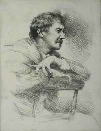 Whistler, No. 11 (Portrait of Whistler, Seated, Right Profile) -  MENPES