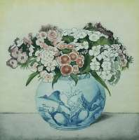Sweet William in a Blue and White Chinese Pot -  EVERBAG