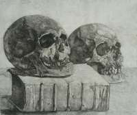 Two skulls and a Book (Memento Mori) -  DERKZEN VAN ANGEREN