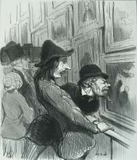 Artists in the Process of viewing the Work of a Rival (Artistes en train d'examiner le tableau d'un rival) -  DAUMIER