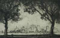 New York from Governor's Island -  PENNELL