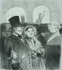 Tiens, papa, te v'la! (Look Papa, it's you!) -  DAUMIER