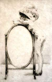 Woman Leaning on a Mirror -  THOMAS