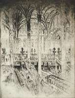 Down to the Trains, Pennsylvania Station, New York -  PENNELL