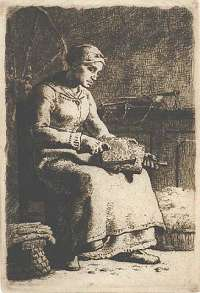 La Cardeuse (Woman Carding Wool) -  MILLET