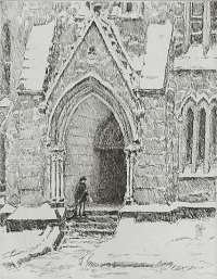 Church Doorway, Snow -  HASSAM