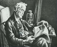 Old Man Reading -  BENTON