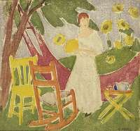Woman with A Fan and Sunflowers -  MARS