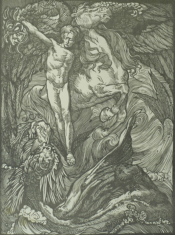 Perseus with the Head of Medusa (Perseus en Het Hoofd van Medusa) - JOHANNES AARTS - woodcut