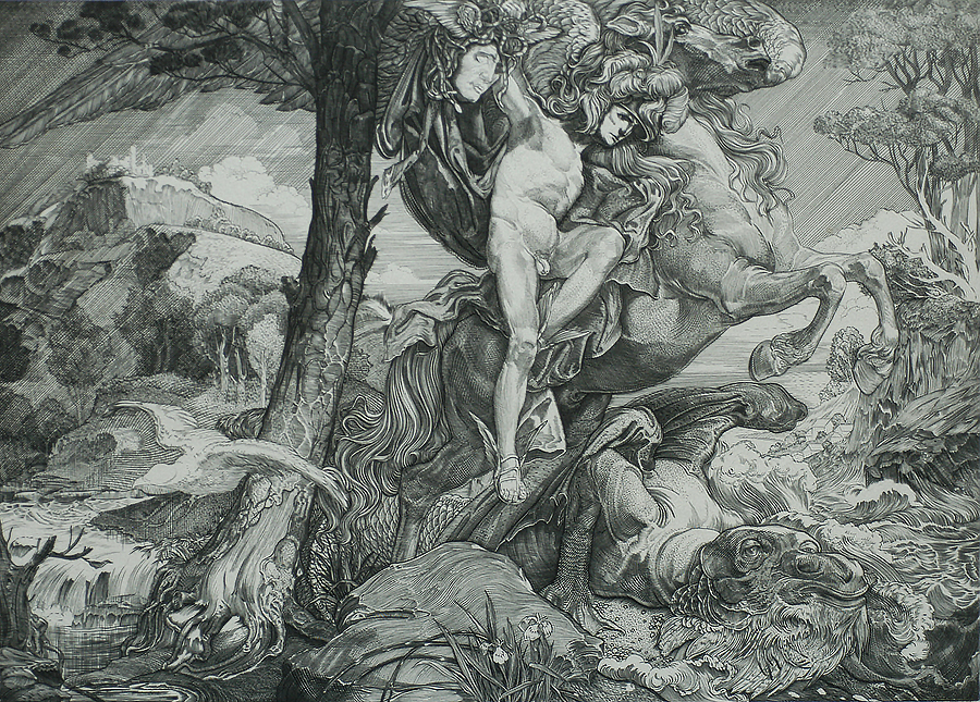 Perseus with the Head of Medusa - JOHANNES AARTS - engraving