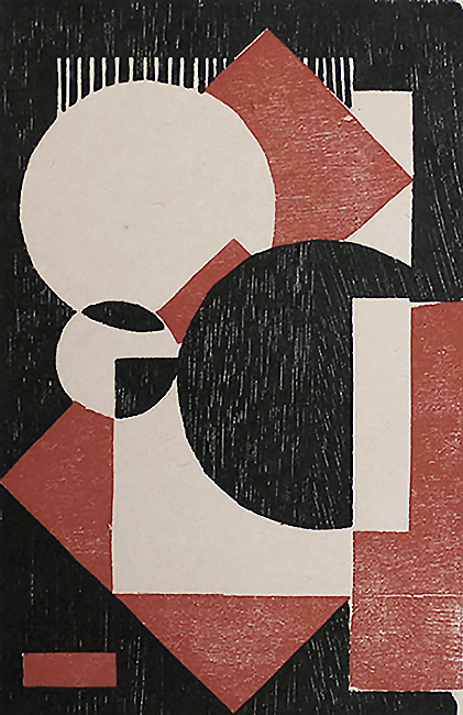 Composition in Red and Black I (Kompositie rood-zwart I) - WOBBE ALKEMA - woodcut printed in colors