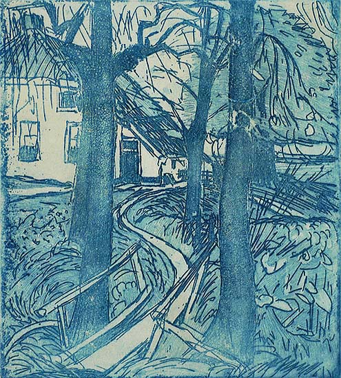 Blauwbrugje (Little Blue Bridge) - JAN ALTINK - etching and aquatint