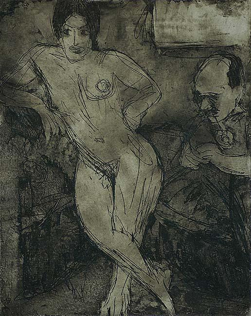 Jan Wiegers with Model - JAN ALTINK - etching