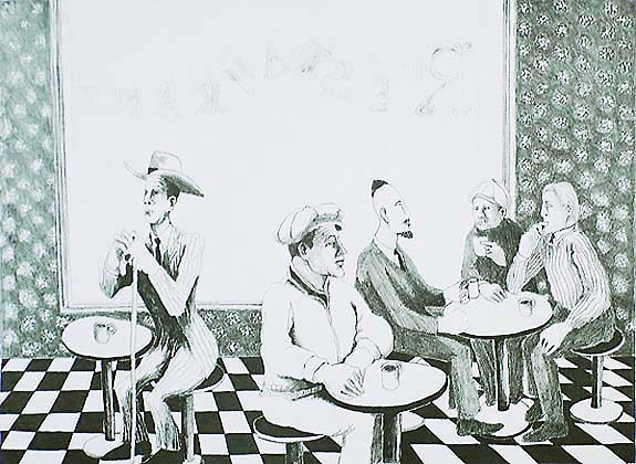 New York Cafe - BENNY ANDREWS - lithograph