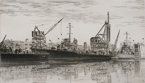 Destroyers in Wet Basin - JOHN TAYLOR ARMS - etching