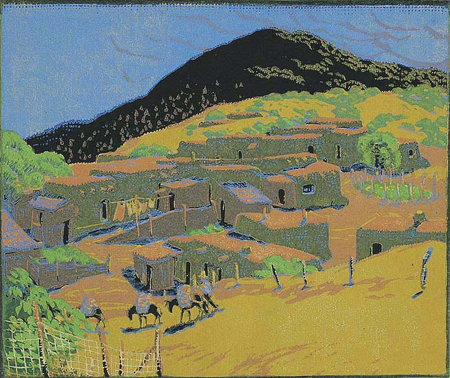 Talaya Peak (New Mexico) - GUSTAVE BAUMANN - woodcut printed in colors