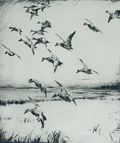 Here They Come - FRANK BENSON - drypoint